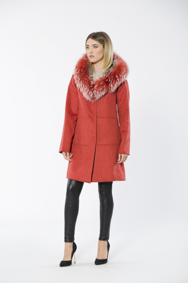Double Face Reversible Cashmere Coat With Finn Raccoon Trim
