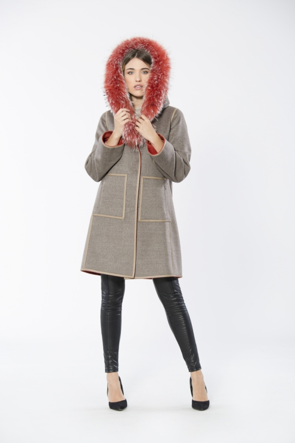 Double Face Cashmere Coat With Finn Raccoon Trim